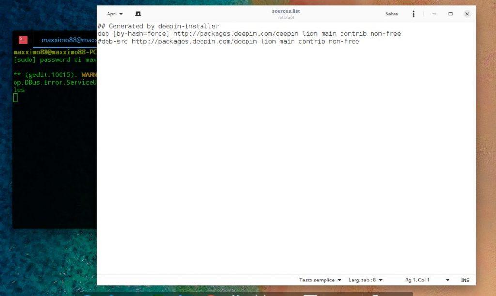 Modifica Source.list Deepin